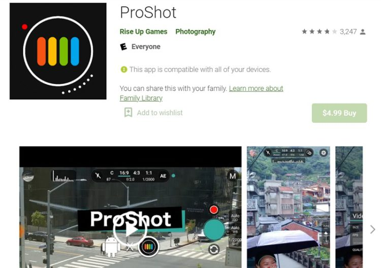 proshot - android camera app